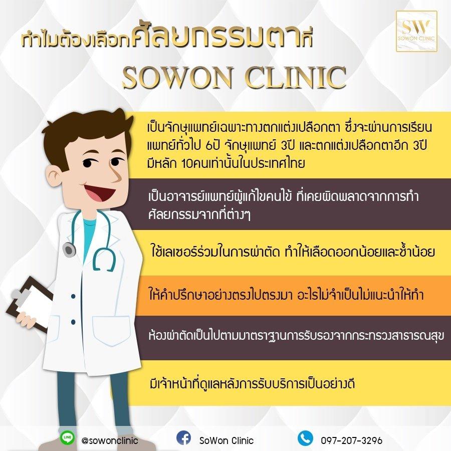 ทำตาสองชั้นที่ไหนดี sowon clinic
